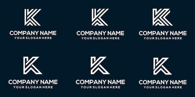 Set di modello di progettazione di logo di lettera k monogramma astratto creativo