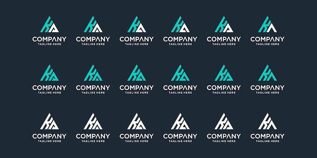 Set di modello di progettazione di logo ka lettera monogramma astratto creativo