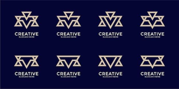 Set di ispirazione creativa per il design del logo della lettera m del monogramma astratto