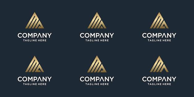 Set di modello di logo ma lettera monogramma astratto creativo