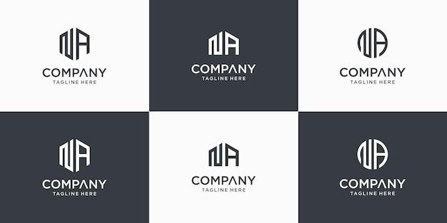 Set di modello di progettazione di logo di lettera na monogramma astratto creativo