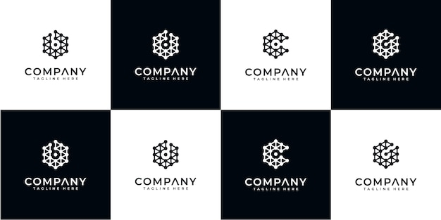 Set di tecnologia di progettazione del logo monogramma astratto creativo. logotipi per attività di lusso, eleganti, semplici. lettera b, lettera c, lettera d e lettera g.