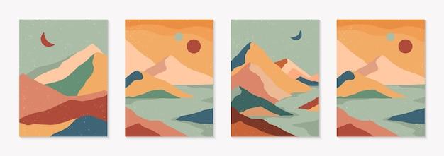 Set di sfondi astratti creativi di paesaggio montano e catena montuosa. illustrazioni vettoriali moderne di metà secolo con montagne disegnate a mano, mare o deserto, cielo, sole, luna. design contemporaneo alla moda.