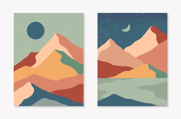 Set di sfondi astratti creativi di paesaggio montano e catena montuosa. illustrazioni vettoriali moderne di metà secolo con montagne, mare o lago, cielo, sole o luna disegnate a mano. design contemporaneo alla moda.