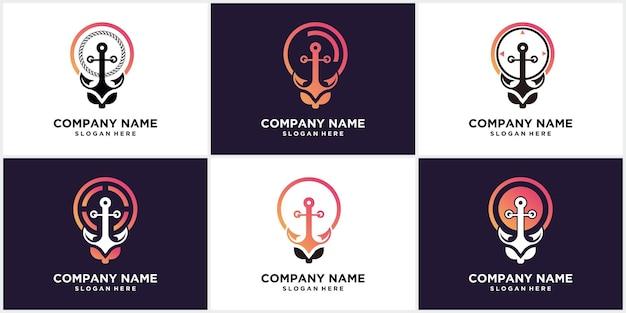 Impostare il design del logo di concetto di forma di lampadina di ancoraggio creativo