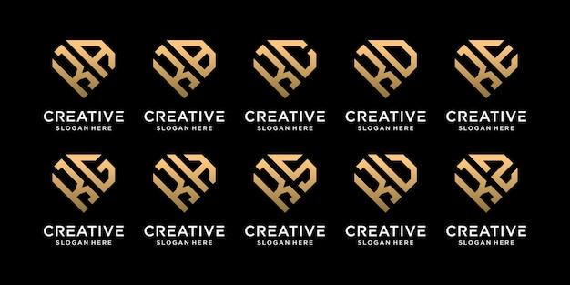 Set di bundle creativo monogramma logo design modello lettera iniziale k combinato con altri. icone per azienda aziendale e personale. vettore premium