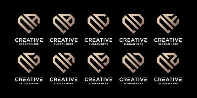 Set di bundle creativo monogramma logo design modello lettera iniziale n combinato con altri. icone per azienda aziendale e personale. vettore premium