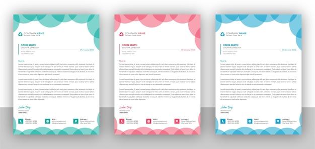 Set di modello di disegno colorato carta intestata di affari creativi Vettore Premium