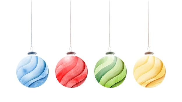 Set di palle di natale creative con brillante acquerello dipinto a mano isolato su bianco