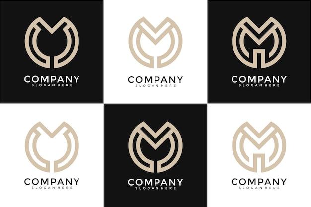 Set di cerchio creativo monogramma lettera m logo modello