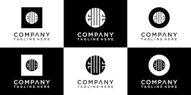 Set di design del logo monogramma cerchio creativo