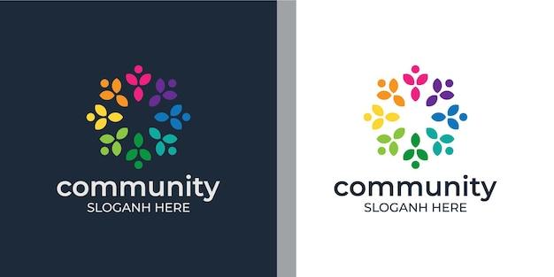 Imposta il logo del gruppo sociale colorato creativo