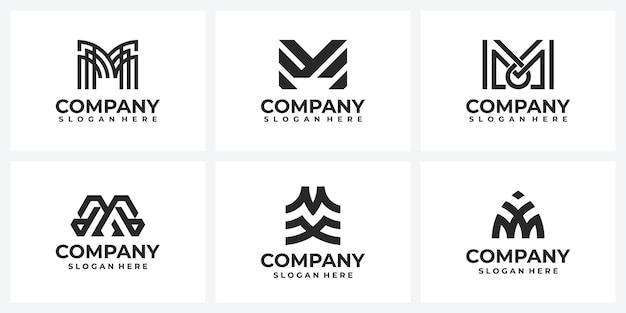Insieme di idee per il design del logo della società creativa monogramma della lettera m.
