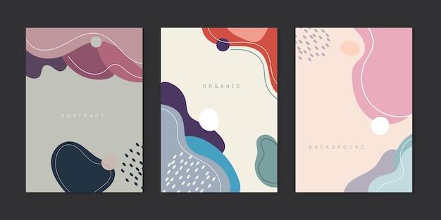 Set di copertine creative, forme con linee minimal in stile trendy.