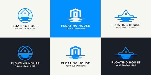 Set di design creativo del logo della casa galleggiante