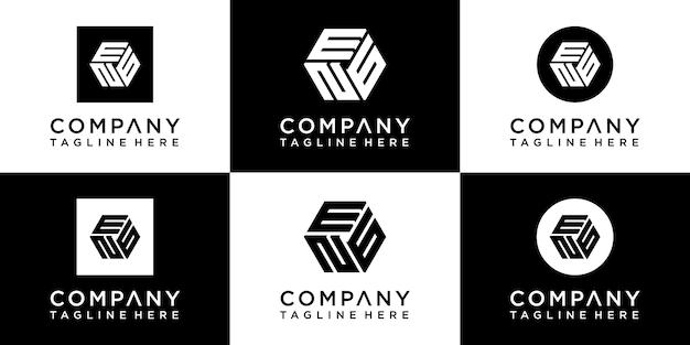 Set di design del logo monogramma esagonale creativo