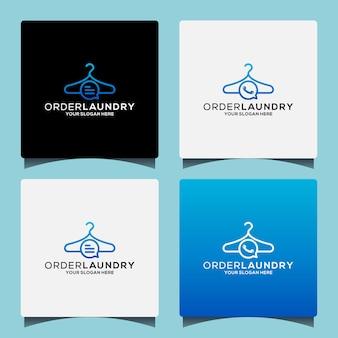 Imposta il design del logo della lavanderia di un'idea creativa