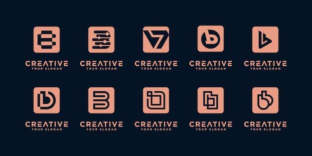 Set di modello di progettazione del logo della lettera iniziale b creativa