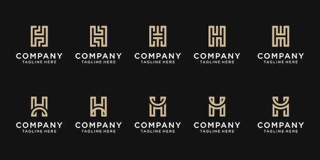Set di modello di logo creativo lettera iniziale h.
