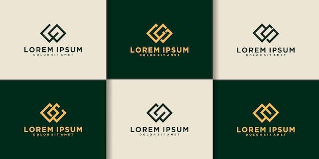 Set di modello di logo della lettera iniziale creativa