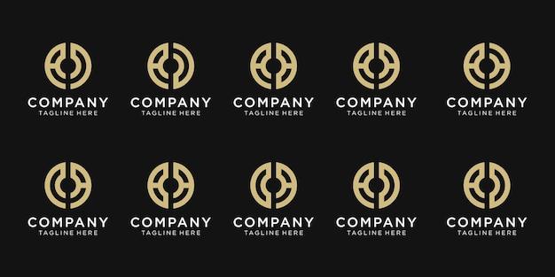 Set di lettera iniziale creativa un modello di logo.