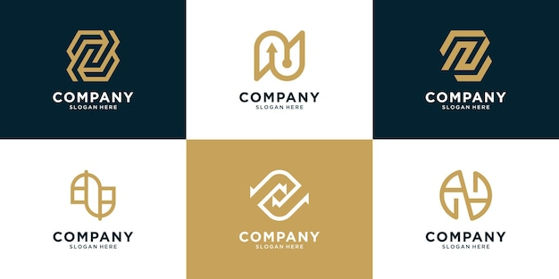 Set di logo monogramma creativo con lettera iniziale n logo design per la moda aziendale company
