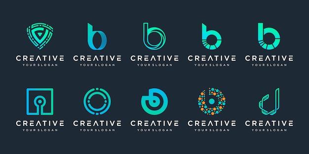 Set di modello di logo creativo lettera b e d icone per affari di tecnologia, digitale, dati, laboratorio, semplice.