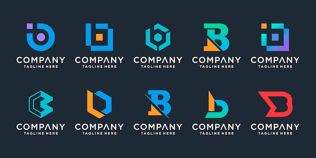 Set di collezione di design del logo lettera b creativa, per attività di tecnologia, digitale, dati, sport semplice.