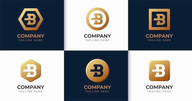 Set di raccolta di modelli di design del logo della lettera b creativa