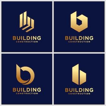 Set di modello creativo di progettazione di logo della lettera b. icone per affari di lusso, eleganti, semplici.