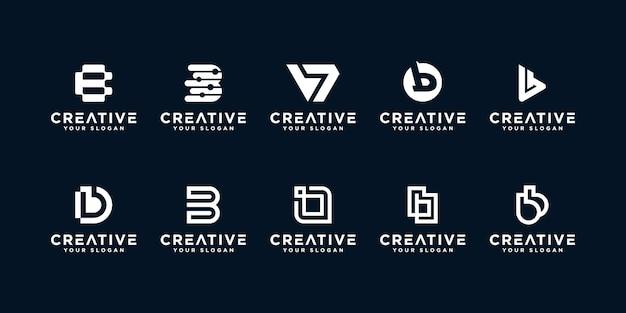 Set di loghi creativi lettera b.