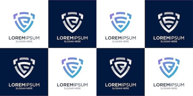 Set di combinazione di monogramma lettera c creativa e segno di scudo