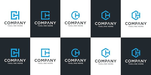Set di modello di logo ch lettera creativa