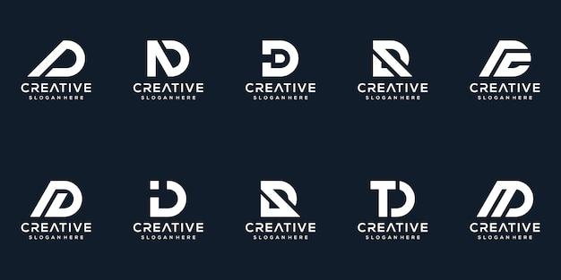 Set di collezione di design del logo lettera d creativa