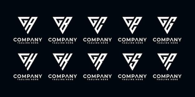 Set di modello di logo creativo lettera g ed ecc con stile arte triangolo. icone per affari di finanza, consulenza, semplice.
