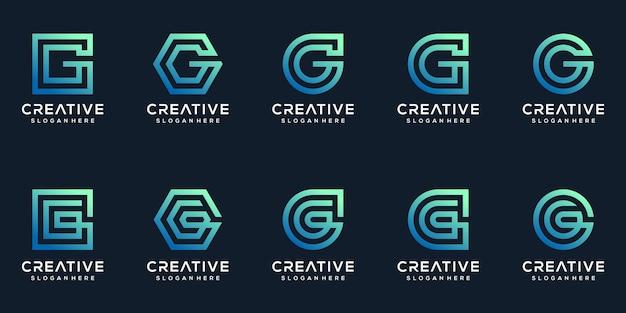 Set di collezione di design del logo lettera g creativa
