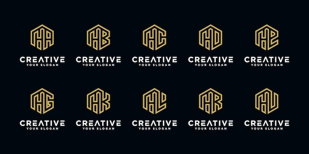 Set di creatività. lettera he ecc con modello di progettazione logo monogramma astratto stile esagono.