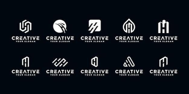 Set di modello di progettazione del logo lettera h. creativa