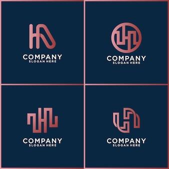 Set di loghi lettera h creativa