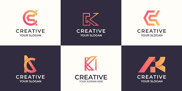 Set di creative lettera k logo astratto design