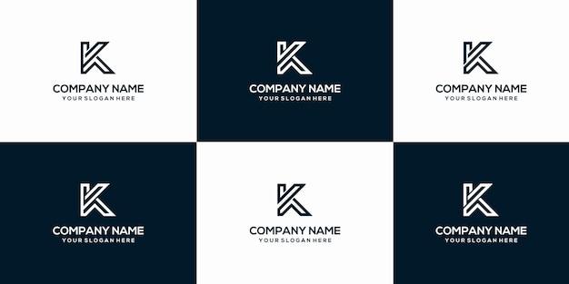 Set di modello di progettazione di logo di lettera k creativo
