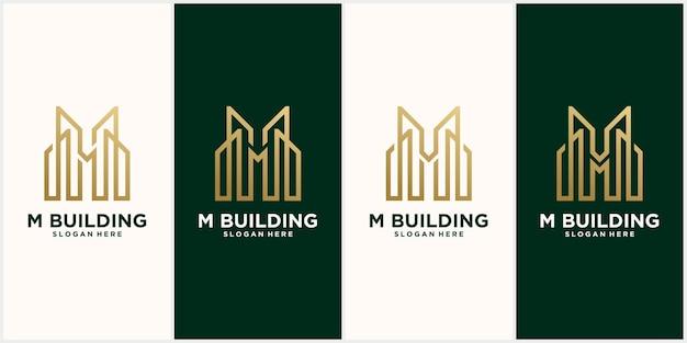 Impostare la lettera m creativa edificio modello di logo immobiliare
