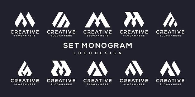 Set di modello di progettazione del logo lettera m creativa.