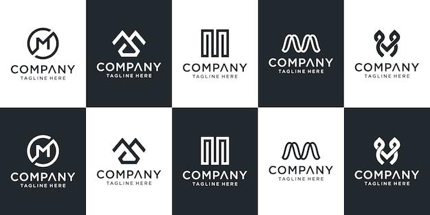 Set di modello di logo creativo lettera m.
