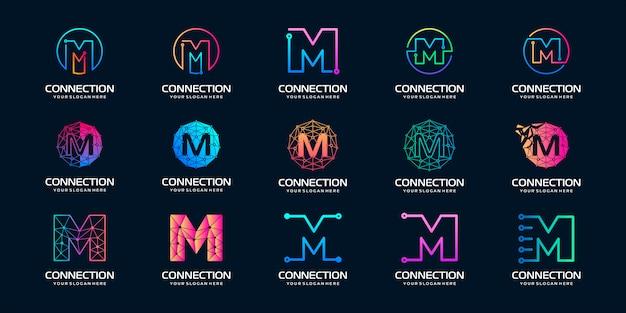 Set di lettera creativa m logo moderno tecnologia digitale. il logo può essere utilizzato per tecnologia, digitale, connessione, società elettrica.