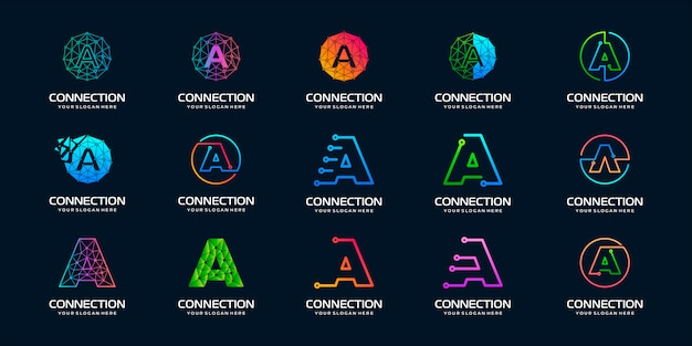 Set di lettera creativa un moderno logo tecnologia digitale. il logo può essere utilizzato per tecnologia, digitale, connessione, società elettrica.