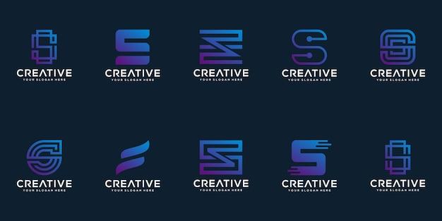 Set di collezione di design del logo lettera s creativa