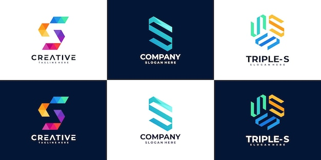 Set di modello di progettazione di logo di lettera s creativa