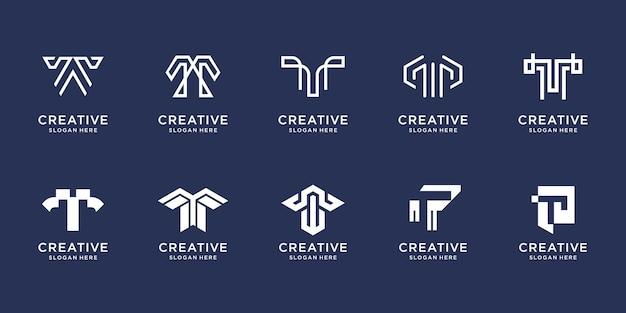 Set di design del logo della lettera t creativo simbolo per il modello di design di lusso della tecnologia di ispirazione aziendale