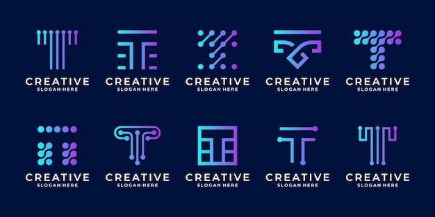 Set di lettera creativa t modello di progettazione del logo della moderna tecnologia digitale